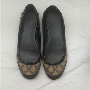 Coach Brown Logo Flats, Great Condition, Size 8